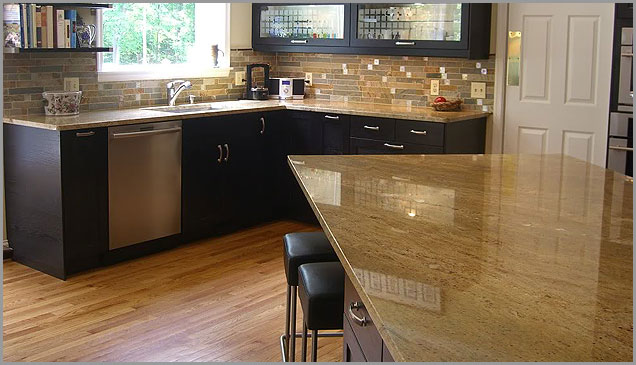 Kitchen cabinets different color island - Madura Gold Madura Gold Granite Countertop Samples